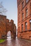 2017 10 20 Torun Poland, los caballeros teutónicos se escudan las ruinas iluminadas en la noche, arquitectura histórica de Torun Foto de archivo