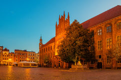Torun, Poland: old town, city hall. Torun, Poland: sunrise in old town city hall stock images