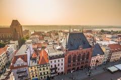 Torun,Poland-September 11,2016:Torun panorama seen from tower of stock images