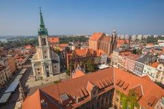 Torun,Poland-September 11,2016:Torun panorama seen from tower of stock image