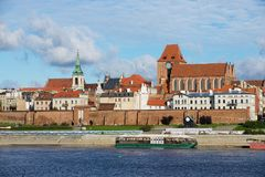 View to the old town of Torun from across the Vistula river in Torun, Poland. Stock Photos