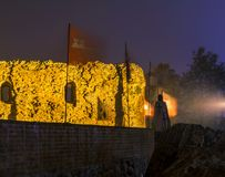 2017. 10. 20 Torun Poland, Teutonic Knights castle ruins illuminated at night, Historical architecture of Torun at night. Knight Royalty Free Stock Photography