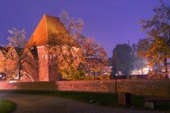 2017 10 20 Torun Poland, Teutonic Ritter ziehen sich die Ruinen zurück, die nachts, historische Architektur von Torun nachts beli Lizenzfreie Stockfotos