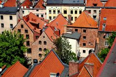 Torun, Poland: View of Hanseatic Houses. Torun, Poland:  View of 17-18th century Hanseatic houses seen from the Town Hall (Rathaus Staromiejski) tower Stock Image