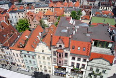 Torun, Poland: View of Old City. View of the historic 17th and 18th century baroque houses with their orange tiled roofs seen from the Town Hall (Ratusz Royalty Free Stock Photos