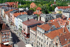 Torun, Poland: Vista de casas barrocas Imagem de Stock