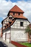 Torun, Polonia: Casas de la pared de la ciudad Foto de archivo libre de regalías