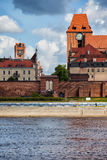 Torun River View. Poland, Torun, Old Town from the Vistula River Stock Photos