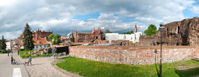Torun, ruins of castle. Popular landmark of Torun, old historical city of Poland. Panorama of old teutonic knights castle ruins Stock Photos