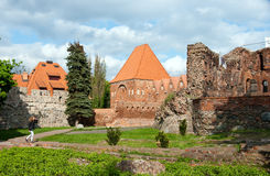 Torun, ruins of castle. Popular landmark of Torun, old historical city of Poland. Panorama of old teutonic knights castle ruins Royalty Free Stock Images