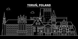 Torun silhouette skyline. Poland - Torun vector city, polish linear architecture, buildings. Torun travel illustration vector illustration