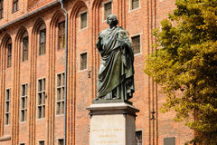 Torun town hall Copernicus statue royalty free stock photography