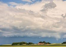 Torup. Rain and sunshine over farmland Stock Photography
