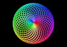 Torus av dubbelt vridna remsor - abstrakt färgrik Shape 3D illustration Arkivfoto