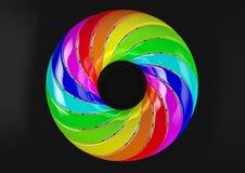 Torus av dubbelt vridna remsor (svart bakgrund) - abstrakt färgrik Shape 3D illustration Royaltyfri Bild