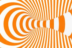 Torus 3D optical illusion raster illustration. Hypnotic white and orange tube image. Contrast twisting loops, stripes ornament. Endless effect psychedelic stock images