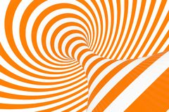 Torus 3D optical illusion raster illustration. Hypnotic white and orange tube image. Contrast twisting loops, stripes ornament. Endless effect psychedelic royalty free stock photography