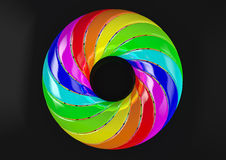 Torus of Doubly Twisted Strips (Black Background) - Abstract Colorful Shape 3D Illustration Royalty Free Stock Image