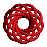 Torus knot. Vector illustration of abstract torus with a plurality of nodes. Isolated. 3D Royalty Free Stock Photos