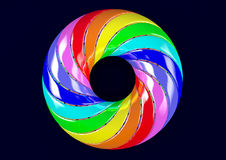 Torus of Doubly Twisted Strips - Abstract Colorful Shape 3D Illustration. The Möbius strip, also called the twisted cylinder, is a surface with only one side Stock Photo