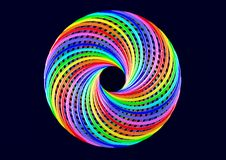 Torus of Doubly Twisted Strips - Abstract Colorful Shape 3D Illustration Royalty Free Stock Photos