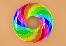 Torus of Doubly Twisted Strips (Orange Background) - Abstract Colorful Shape 3D Illustration Stock Photography