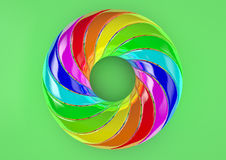 Torus of Doubly Twisted Strips (Green Background) - Abstract Colorful Shape 3D Illustration Stock Image