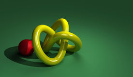 Torus with red ball. Made in 3d software Royalty Free Stock Photos