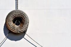Torus ship fender of woven rope royalty free stock photos