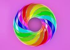 Torus von doppelt verdrehten Streifen (magentaroter Hintergrund) - abstrakte bunte Illustration der Form-3D Lizenzfreies Stockfoto