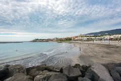 Torviscas Playa black sand beach at Tenerife island Royalty Free Stock Photography