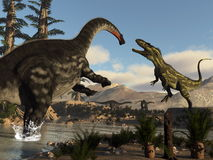 Torvosaurus and apatosaurus dinosaurs fighting - 3D render Royalty Free Stock Images