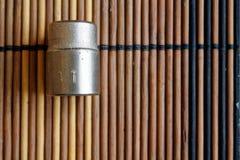 Torx гнездо для гаечного ключа на деревянной предпосылке, размере гнезд ключа 11 Стоковое фото RF