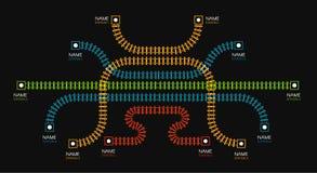 Tory szynowi, stacja kolejowa, taborowy diagram Koloru ogrodzenie lub schodki Wektorowa ilustracja na czarnym tle ilustracja wektor
