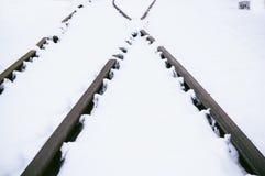 Tory szynowi w śniegu Zdjęcie Royalty Free