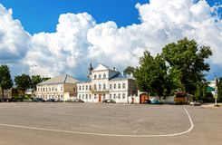 Administration buildings at the central square in Torzhok, Russia. Torzhok, Russia - July 16, 2017: Administration buildings at the central square in Torzhok royalty free stock image