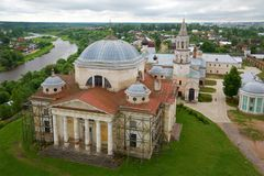 Torzhoksky Borisoglebsky Cathedral. View from the bell tower of Boris and Gleb monastery. Torzhok, Russia Royalty Free Stock Photography