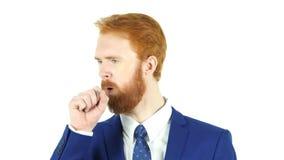 Tos, hombre de negocios rojo Coughing de la barba del pelo imagen de archivo libre de regalías