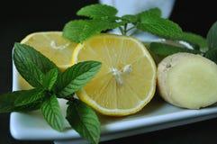 Tos y remedio casero frío con el limón, el jengibre, el mortero y la maja Fotografía de archivo libre de regalías