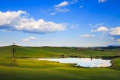 Toscânia, lago, árvore e campos verdes, paisagem rural no por do sol, Imagens de Stock Royalty Free
