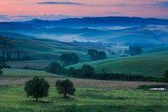 Toscânia no amanhecer Imagens de Stock