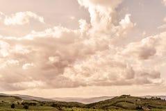 Toscânia - a Rolling Hills e os vinhedos abaixo da cidade da cume de Montalcino imagem de stock