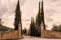 Toscânia - uma propriedade de Tuscan nas inclinações da cidade da cume de Montalcino fotografia de stock royalty free