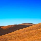 Toscaans landschap. Rolling heuvels dichtbij Volterra Stock Foto
