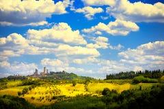 Toscaanse landschap van kunst het mooie Italië Stock Afbeeldingen