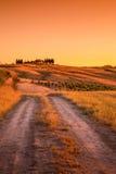 Toscaanse landweg stock afbeelding