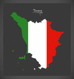 Toscana map with Italian national flag illustration Royalty Free Stock Images