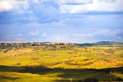 Toscana, pueblo medieval de Pienza Siena, Val d Orcia, Italia Fotografía de archivo libre de regalías
