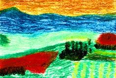 Toscanië in een Zonsondergang - Gebieden en Heuvels van het Toscanië stock illustratie