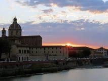 Toscanië, Florence, zonsondergang meer dan één van de mooiste steden royalty-vrije stock foto